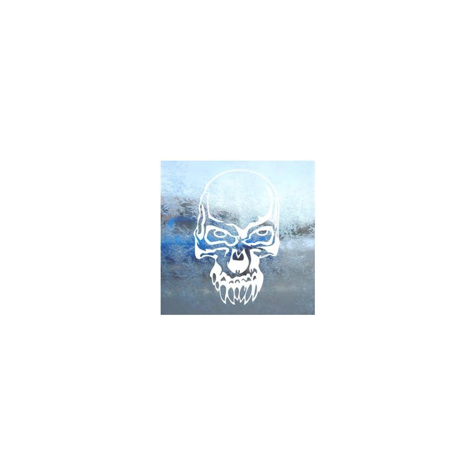 Demon Skull White Decal Car Laptop Window Vinyl White