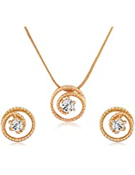 Mahi With Swarovski Zirconia Solitaire Round Spiral Gold Plated Pendant Set For Women NL1105043G