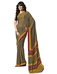Brown Georgette Printed Saree From G3 Fashions