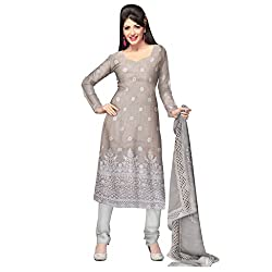 Cream Jute Net Unstitched Dress with Crosia Lace