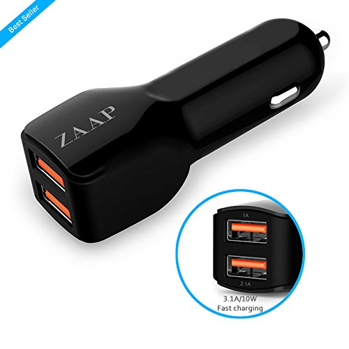 ZAAP(USA) Two port Turbo Car charger (Premium 3.1 A/10W 2Port USB Car Charger-Smallest+Most Powerful) With Premium Finish, Fast Charging {Award winning design-Autozone-USA for Mobile Phone & other USB devices+Universal compatibility, Car accessories}. Black.