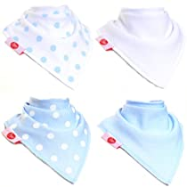 Zippy Fun Bandana Bibs for Baby Boys and Toddlers (Blue and White Pack of 4)