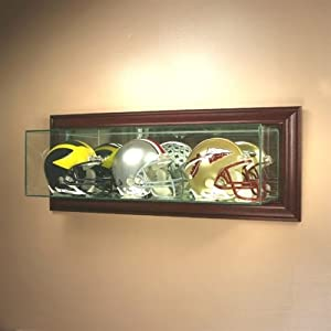 wall mounted triple mini helmet display case sports related display cases. Black Bedroom Furniture Sets. Home Design Ideas