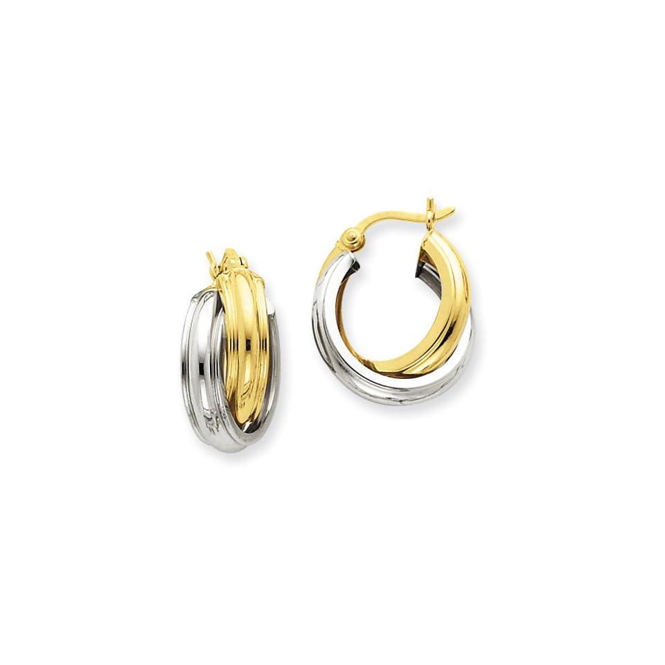 Double Hoop Earrings in 14K Two Tone Gold