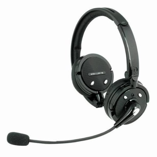 Blue Tiger Stereo Wireless Bluetooth Headwearing Handsfree Headsets With 12 Hour Talk Time & 4 X Noise Cancelling For Cell Phones/Computers