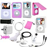 TsirTech 15 Piece iPod classic Hot Pink, Accessory Bundle compatible with iPod Classic 120GB + New 7th Gen 160GB