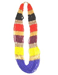 Jewel Plus Long Necklace With Multicolour Beads For Women