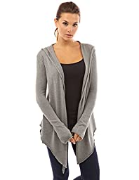 PattyBoutik Women\'s Hooded Asym Hem Sweatercoat Cardigan (Heather Gray L)