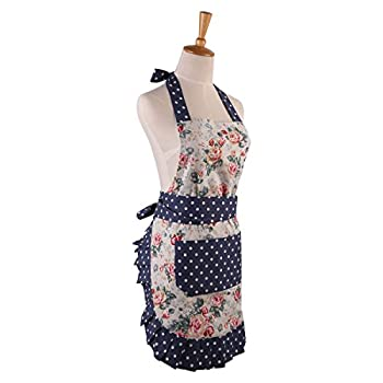 Angeka Cotton Fabric Flirty Women's Apron With Big Pocket In Front Used For Home Baking or Kitchen Cooking (White Style-1)