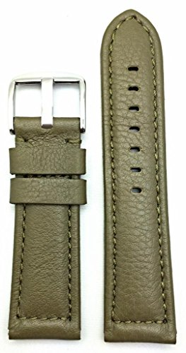 24Mm Green, Panerai Style, Smooth Soft Leather Watch Band