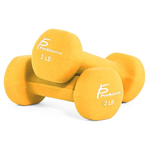 ProSource Set of Two Neoprene Dumbbells, Yellow, 2 pounds