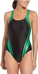 Speedo Women\'s Race Quantum Splice Super Pro Swimsuit, Black and Green, 28