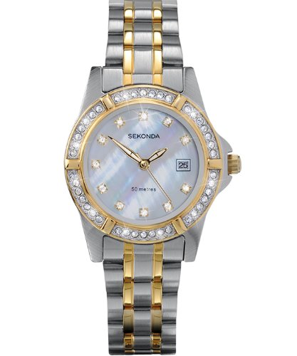 Sekonda Ladies 4174.28 Stone Set Dress Watch with Mother of Pearl Dial