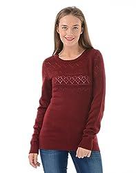 US Polo Womens Cotton Sweater (UWSW0126_Pomegranate_L)