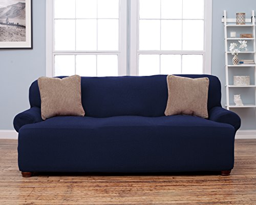 Savannah Collection Strapless Slipcover Form Fit Slip Resistant Stylish Furniture Shield Protector Featuring Soft Lightweight Fabric By Home Fashion Designs Sofa Blue