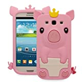 Fosmon 3D Pig Design Silicone Case for Samsung Galaxy S3 S III - Baby Pink