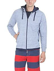 Zobello Men's Hoodie With Contrast Zipper and Cire Fabric(51054B_Space Dyed Baby Blue/Navy Lining_XX-Large)