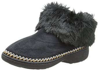 Isotoner Women's Faux-Fur Chunky Slipper Bootie, Black,6.5/7