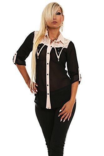 5498 Fashion4Young Damen Sexy Bluse aus Chiffon verfügbar in 5 Farben 2 Größen