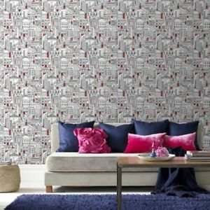 HOC City Red Silver Wallpaper from New A-Brend