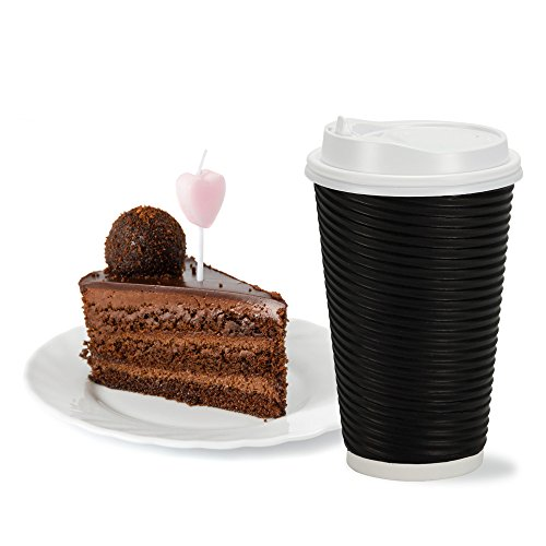 PREMIUM Disposable Hot Paper Cups With Lids| Double Wall & Ripple Insulation For Heat Protection| Perfect For Your Coffee/Tea/Espresso| Birthday/Party/Restaurant Supplies 30 Count (16 oz., Black) (Disposable Espresso Coffee Cups compare prices)