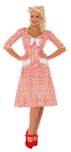 Smiffy's Women's Ww2 Sweet Heart Costume Dress with Hearts