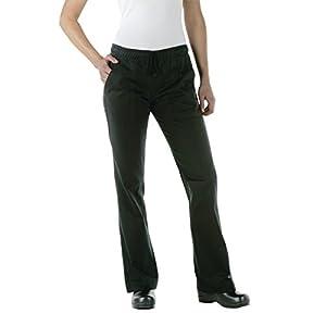 Chef Works WBLK-000 Women's Chef Pants, Black, Size M