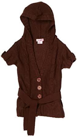 Pink Angel Big Girls' Hooded Sweater, Bark, Large