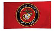 In the Breeze U.S. Marine Corps Emblem Grommet Flag - 3 x 5 Feet - Military Service Flag