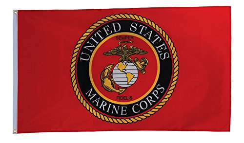 In the Breeze U.S. Marine Corps Emblem Grommet Flag, 3 by 5-Feet