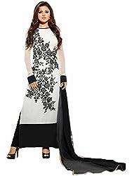 Meet Enterprise Embroidery White Salwar Kameez