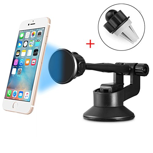 Magnetic Car Mount,Werleo Dashboard Windshield Mount 360 Rotation Car Cell Phone Holder Air Car Vent Holder Cradle W/ Suction Cup For iPhone 7 Plus 6S 5s 6 Samsung Galaxy S7 Edge S6 Note 5 LG HTC Sony