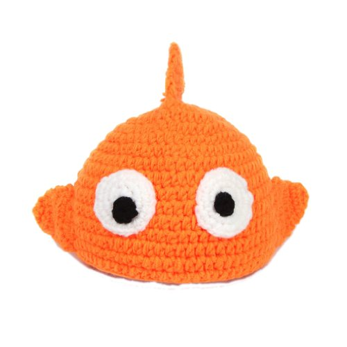 Double Baby Knit Crochet Cartoon Fish Photo Prop Costume Set Orange 0-24 Months