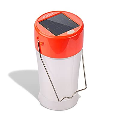 Etekcity Portable Rechargeable Outdoor USB and Solar LED Camping Lantern (Orange)