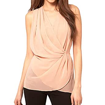 Tiered Cross Wrap Front Blouse at Amazon Women's Clothing store
