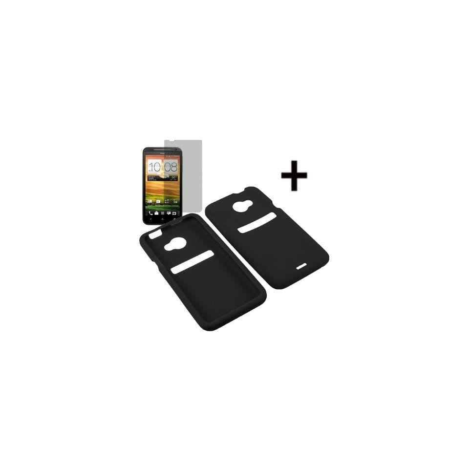 AM Soft Silicone Sleeve Gel Cover Skin Case for Sprint HTC EVO 4G LTE + Fitted Screen Protector  Black