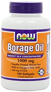 NOW Foods Borage Oil 1000mg, 120 Softgels