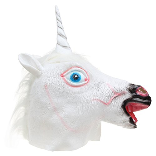 HITREE Halloween Costume Prop Cosplay Funny Unicorn Head Mask