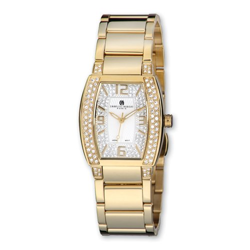 Ladies Charles Hubert IP-plated Crystal Accent White Dial Watch