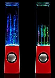 Kocaso Mini Portable Dancing Water Speakers (Colorful LED Lights, 3.55 mm Jack, USB Connection to Smartphone, Samsung, iPhone, Motorolla, Droid, Android Phone, Computer, Tablet, Etc., Color Variations, Stereo Sound) - Red
