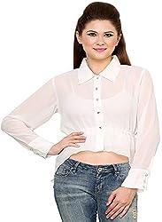 Rvestir Women's Poly Georgette Tunic Top (OM097_L, White)