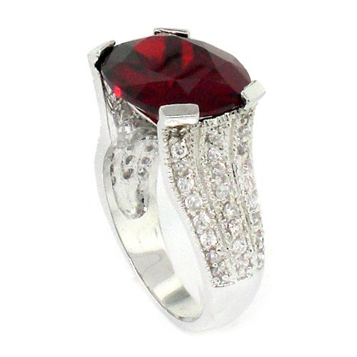Vintage/Modern Engagement Ring w/Garnet &#038; White CZs Size 6