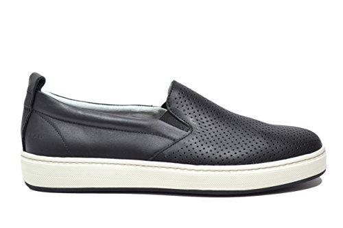 FRAU 28L7 nero scarpe uomo sneakers slip-on elastico pelle forate 42