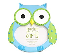 Adorable Baby BOY Owl Picture Frame Holds 3x4 Photo ~Gift Box Included~