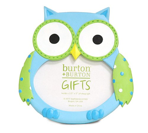 Adorable Baby BOY Owl Picture Frame Holds 3x4 Photo ~Gift Box Included~ - 1