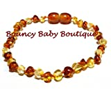 Bouncy Baby Boutique(TM) - Certified Authentic Baltic Amber Teething Bracelet/Anklet - B35 Honey & Lemon