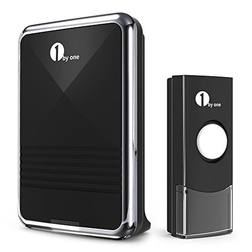 1byone Easy Chime Wireless Doorbell Kit, 1 Receiver & 1 Push Button with Sound and LED Flash, 36 Melodies to Choose, Battery Operated (Battery Door Chime compare prices)