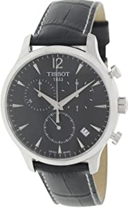 Tissot Men's T063.617.16.057.00 Black Leather Swiss Quartz Watch with Silver Dial