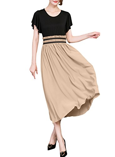 ACHICGIRL Women's Flounce Sleeve Elastic Waist Color Block Maxi Dress, Multicolored 3XL