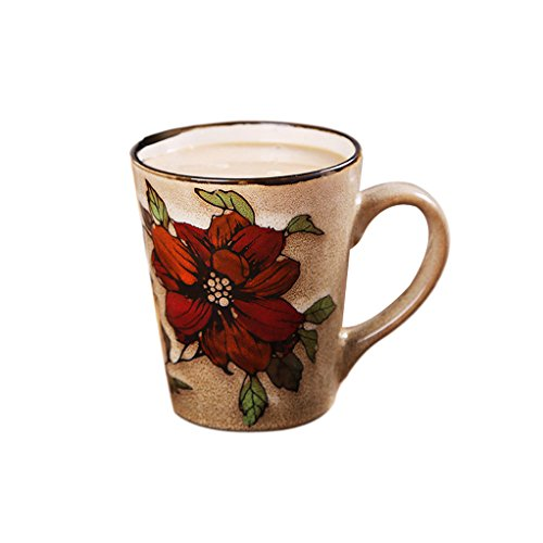 Riimax Exotic Red Flowers Logo Ceramic Coffee Cup Mugs 17 OZ 4inch (Brown) (Mr Brown Ice Coffee compare prices)